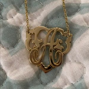 C.Wonder Initial 'A' plated gold necklace
